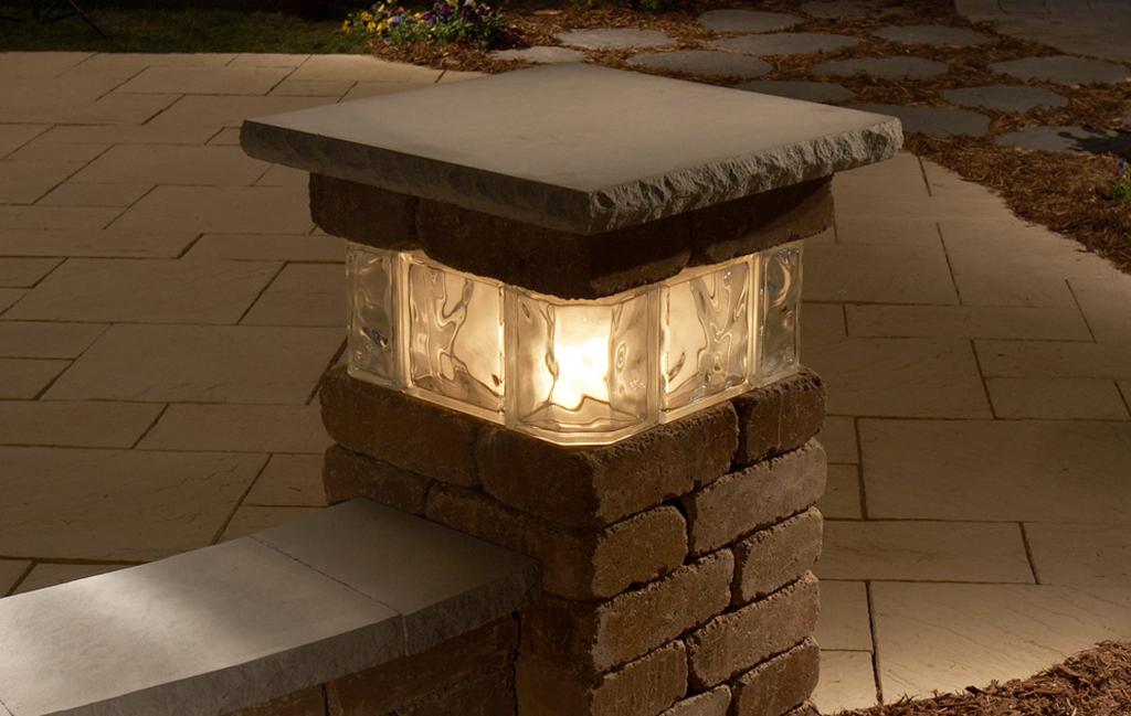 Glass Block Lighted Pillar